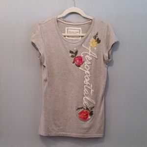 Floral Embroidered Aeropostale Tee size large